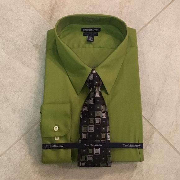 Croft Barrow Shirts New Green 18519 36 Long Sleeve Shirt Tie Combo